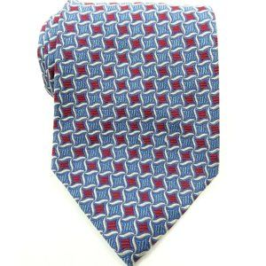Brooks Brothers Cobalt Red Silver Silk Tie
